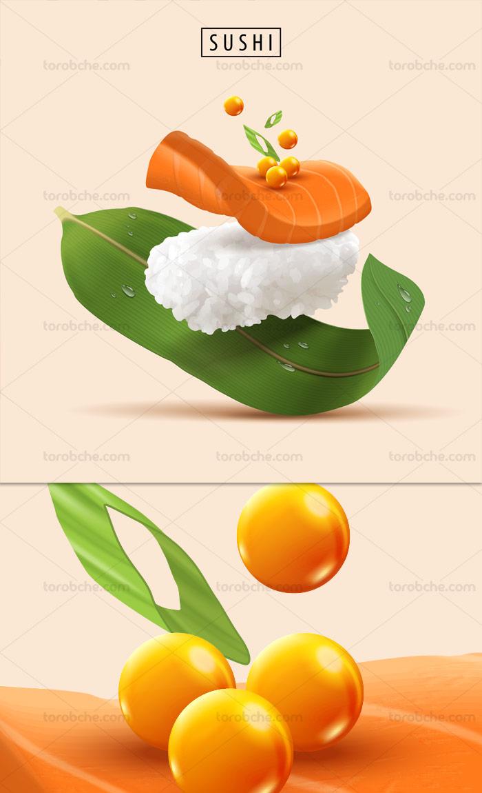 وکتور سوشی غذای دریایی