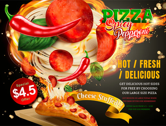 وکتور پیتزا پپرونی تند