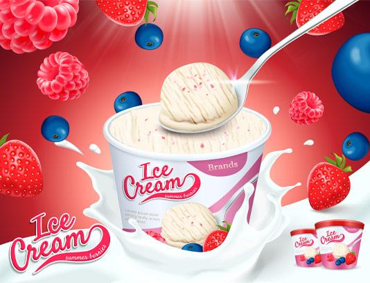 وکتور بستنی با طعم توت فرنگی