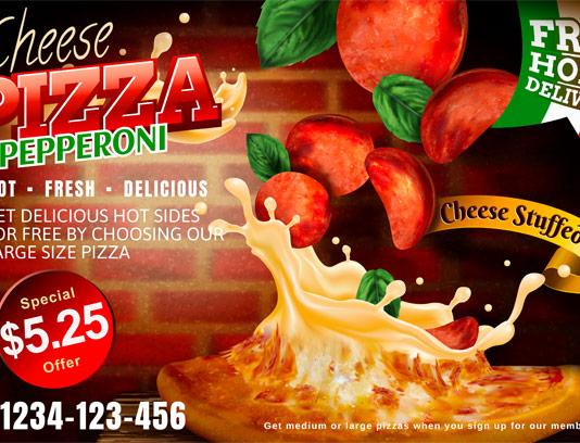 وکتور پیتزای تند با برش پپرونی