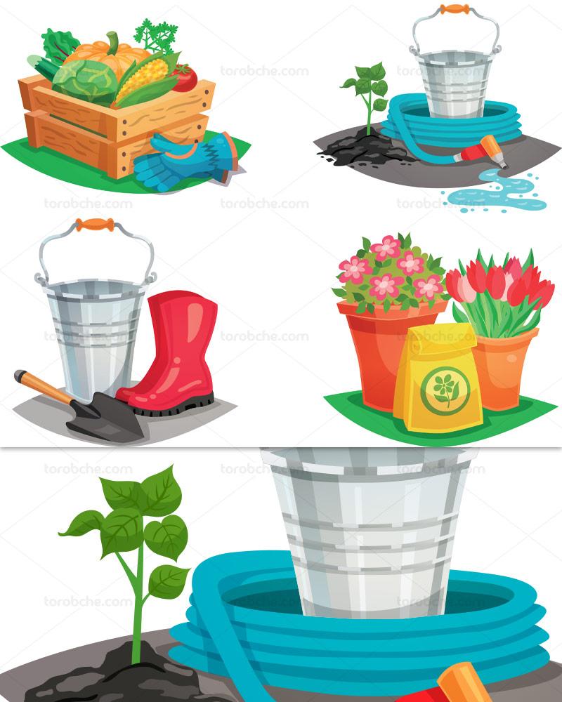 وکتور ابزارالات باغبانی