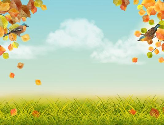 وکتور پس زمینه پاییز و بلبل