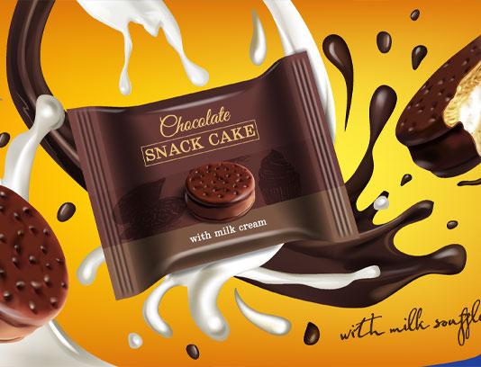 وکتور کیک شکلاتی و شیر