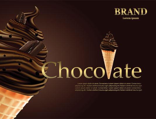 وکتور بستنی شکلاتی قیفی