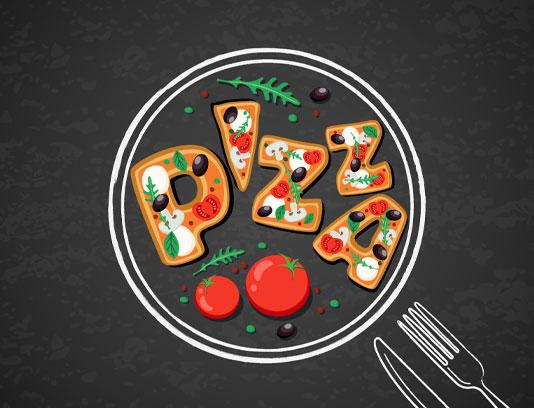 وکتور پیتزا به صورت نقاشی