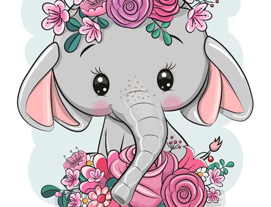 وکتور کاراکتر فیل و گل های رنگارنگ