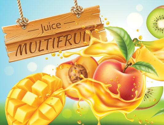 وکتور آب میوه در چهار طعم