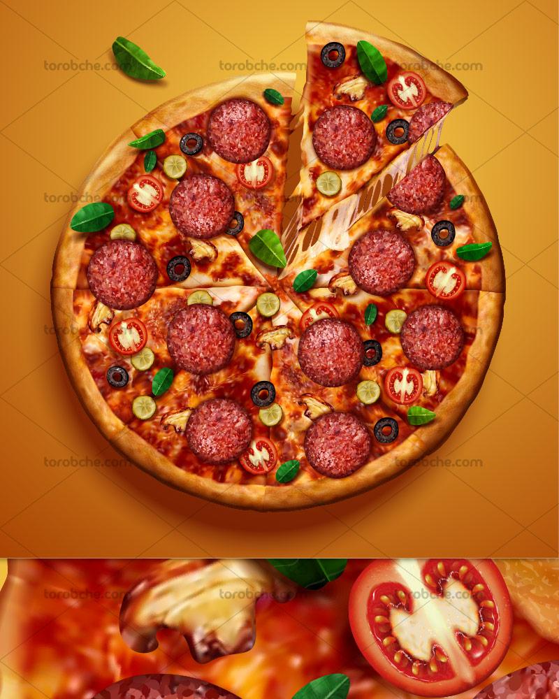 وکتور پیتزای پپرونی داغ