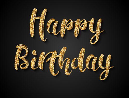 وکتور تولدت مبارک با خط طلایی