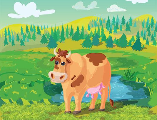 وکتور کاراکتر گاو در مزرعه