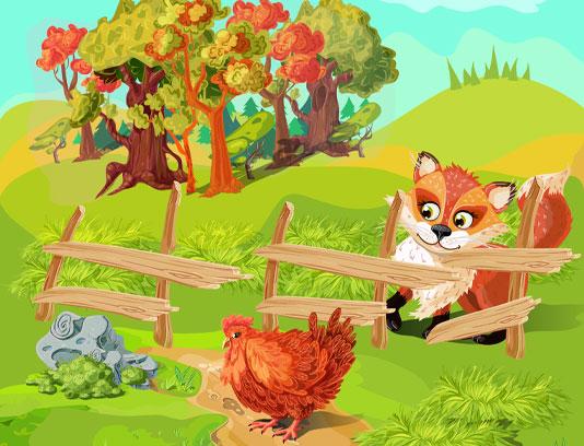 وکتور مرغ و روباه در مزرعه