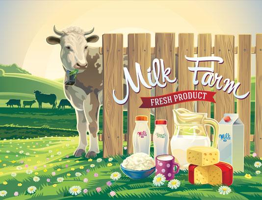 وکتور محصولات شیر با چشم انداز مزرعه