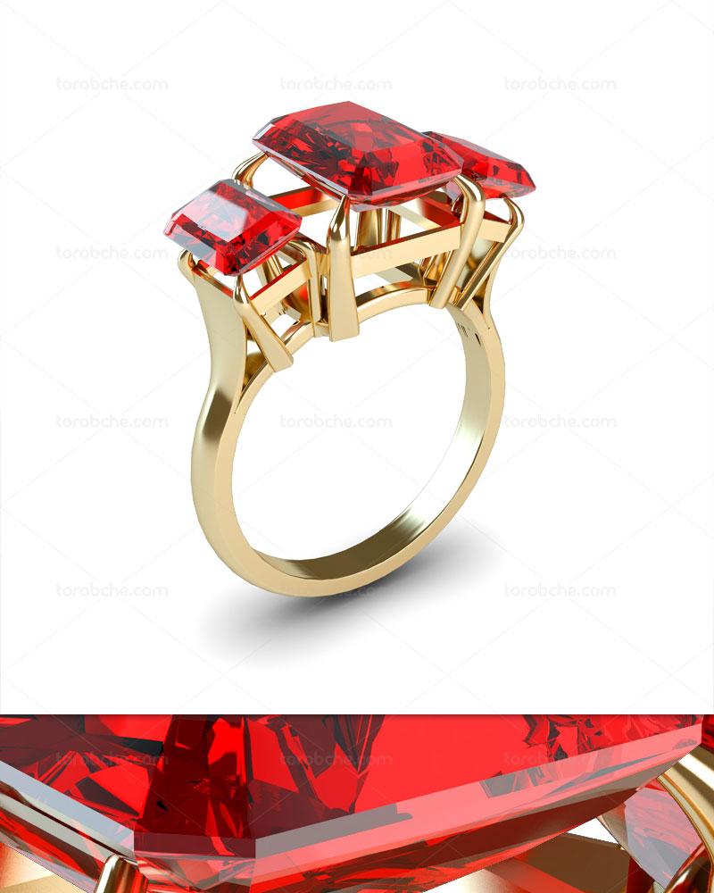 عکس انگشتر طلا با نگین یاقوت سرخ