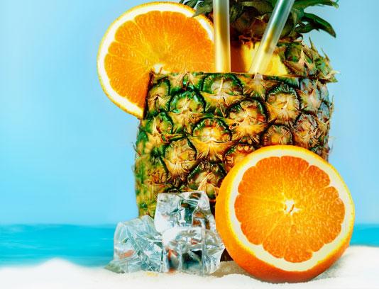 عکس آبمیوه خنک آناناس و پرتقال