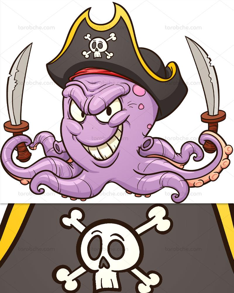 وکتور کاراکتر هشت پا دزدان دریایی