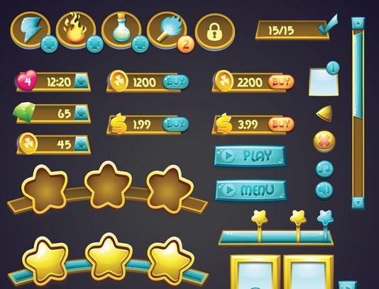 وکتور رابط کاربری خلاقانه بازی