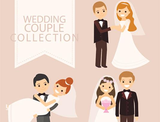 وکتور فلت عروس و داماد