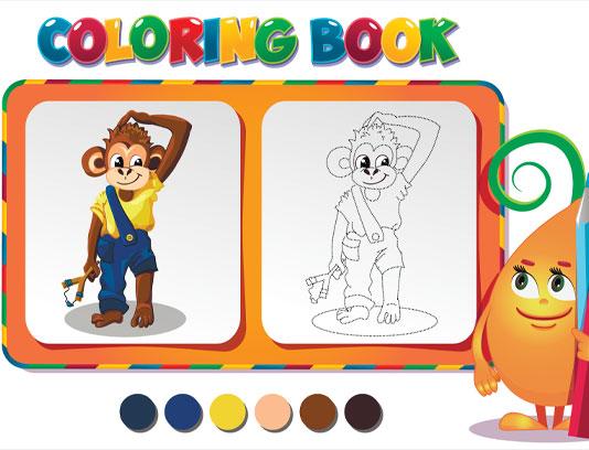 وکتور کتاب رنگ آمیزی میمون پسر