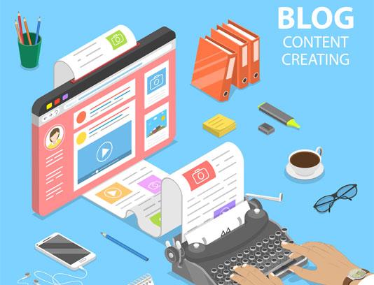 وکتور مفهومی تولید محتوای وبلاگ