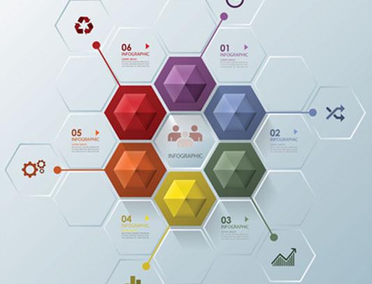 وکتور اینفوگرافیک شش مرحله ای خلاقانه
