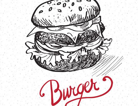 وکتور همبرگر نقاشی شده