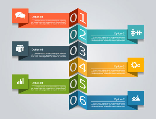 وکتور اینفوگرافیک شش مرحله ای رنگی