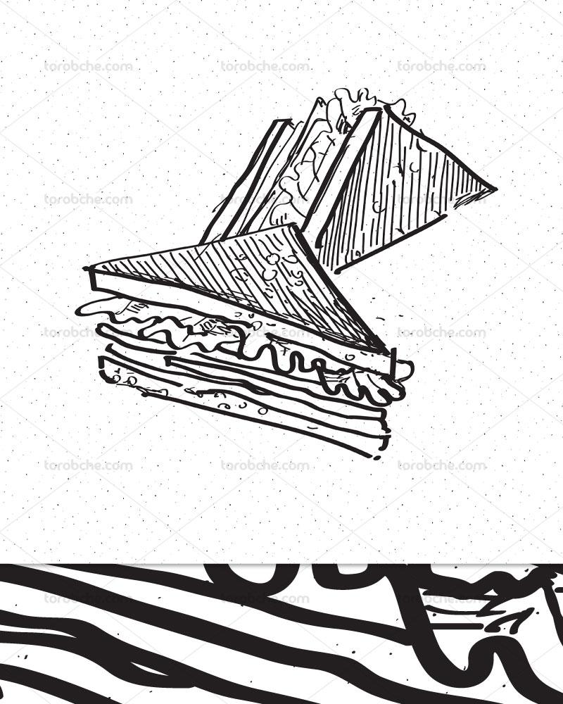 وکتور ساندویچ اسنک سیاه و سفید