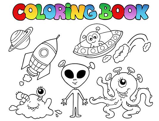 وکتور رنگ آمیزی موجودات فضایی