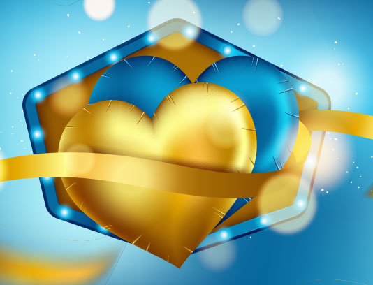 وکتور عاشقانه قلب آبی