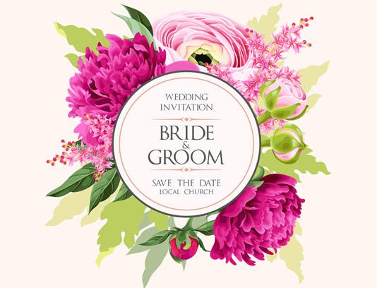 وکتور کارت عروسی گل های رنگی