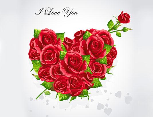 وکتور قلب با گل رز قرمز