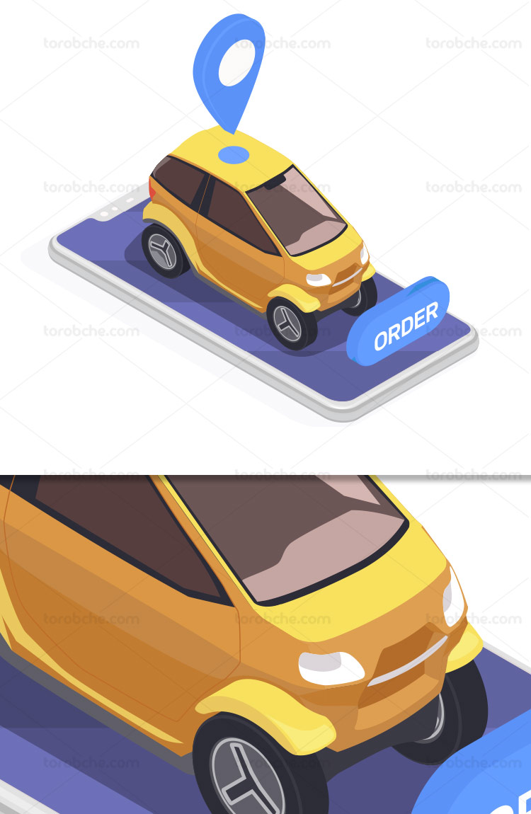 وکتور مفهومی تاکسی آنلاین