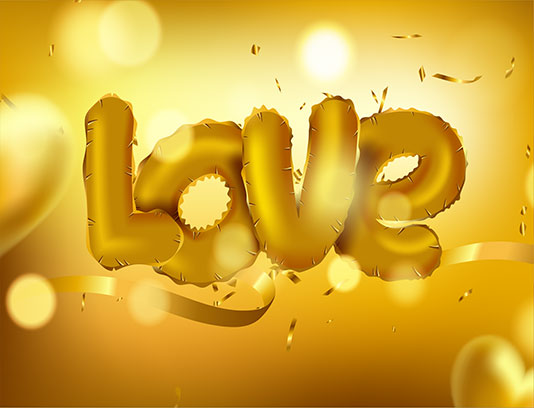 وکتور عشق طلائی ولنتاین
