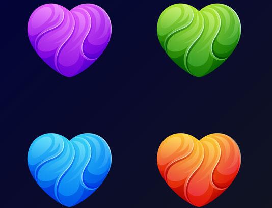 لوگوی قلب چند رنگی