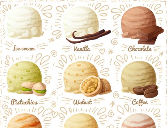 وکتور بستنی های خوش مزه