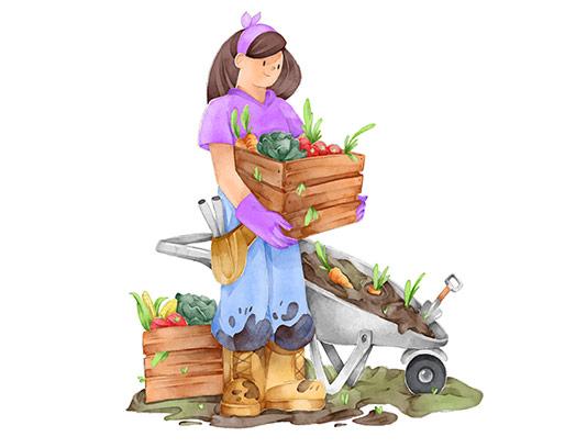 وکتور زن کشاورز آبرنگ