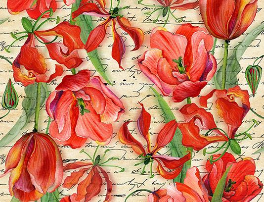 عکس پترن گل های قرمز رنگ