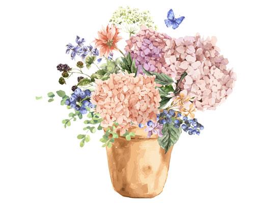 طرح گلدان آبرنگی با کیفیت