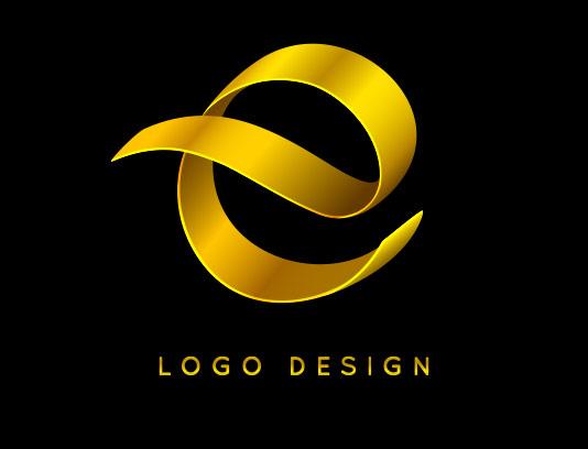 لوگو حرف E طلایی رنگ