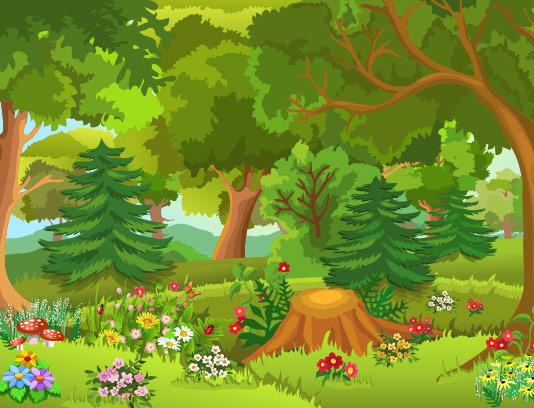 وکتور جنگل و طبیعت سر سبز