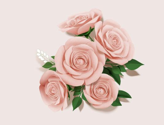 طرح گل های کاغذی صورتی