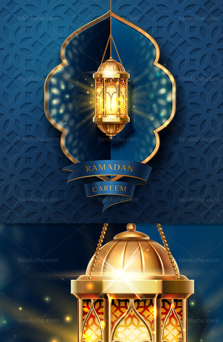 طرح پس زمینه رمضان با المان فانوس