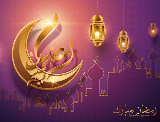 وکتور ماه رمضان با المان ماه