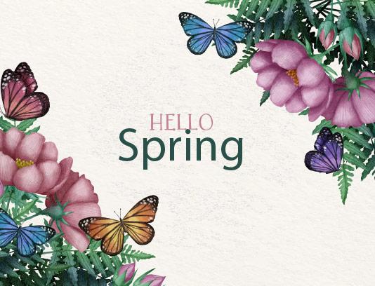 وکتور پس زمینه و گل های بهاری
