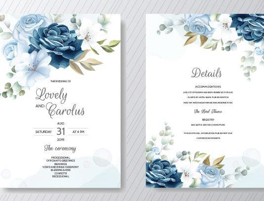 وکتور کارت دعوت عروسی گل زیبا