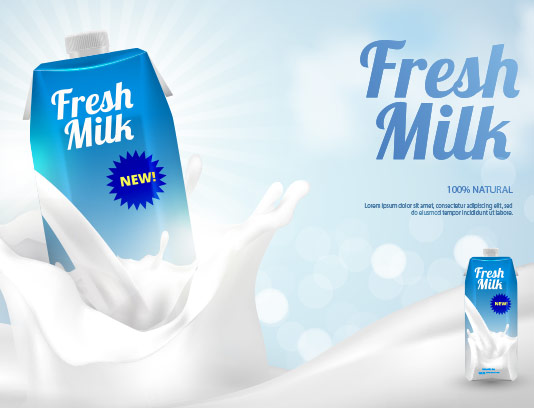 وکتور شیر تازه تبلیغاتی