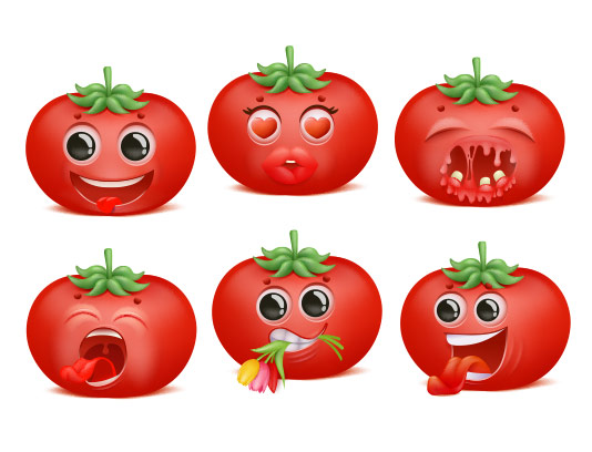 وکتور کاراکتر گوجه فرنگی بامزه