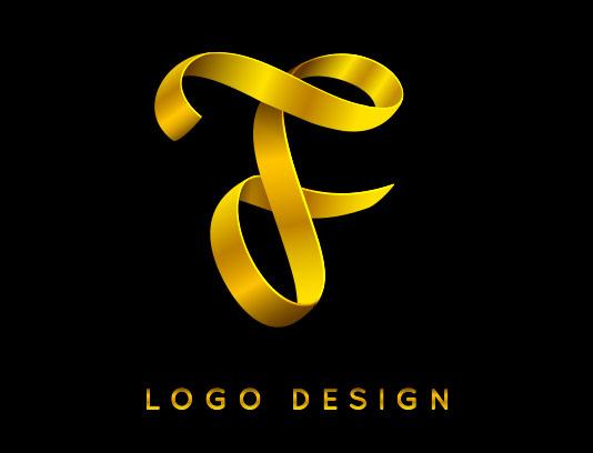 لوگو حرف F طلایی رنگ