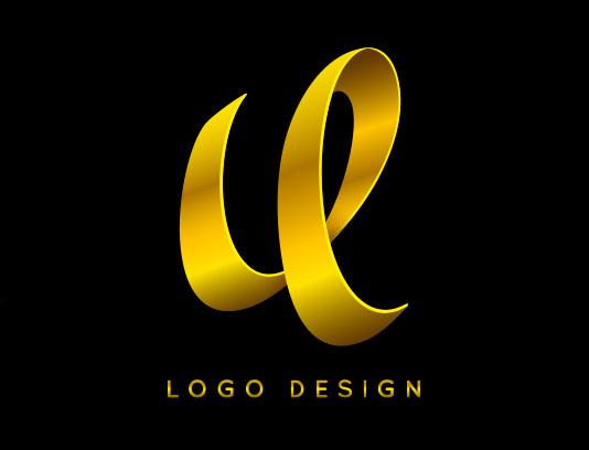لوگو حرف U طلایی رنگ