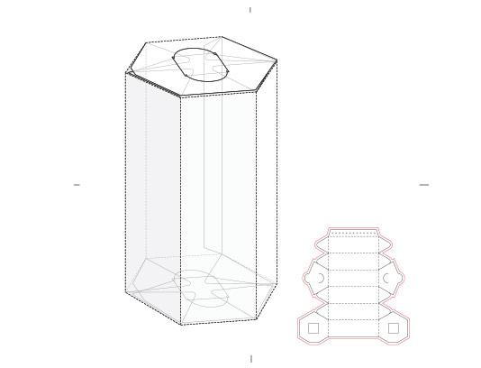 وکتور جعبه شش ضلعی با خط برش